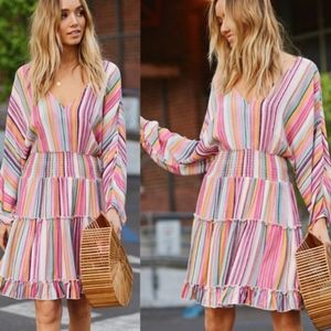 POP OF COLOR Tiered Dress